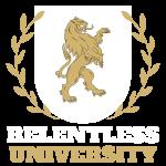 Relentless University Logo White